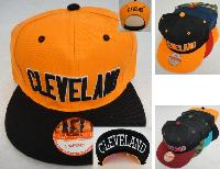 Snap Back Flat Bill Hat [CLEVELAND] Print Under Bill